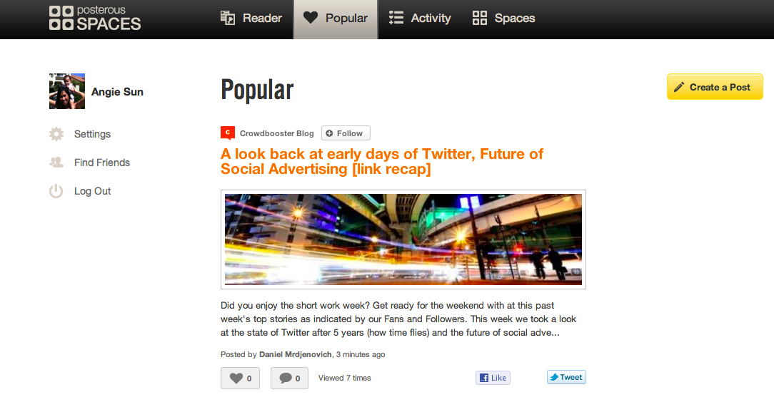 posterous (@posterous) Twitter Stats