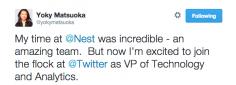 Yoky Matsuoka Joins Twitter As Head Of Technology And Analytics